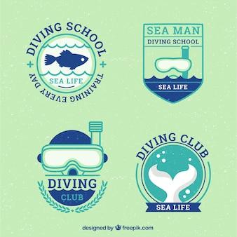 Emblemas bonitos e agradáveis de mergulho