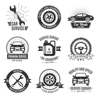 Emblemas brancos pretos dos serviços do automóvel
