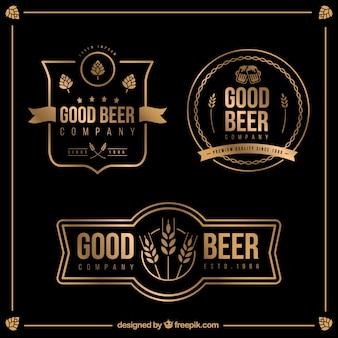 Emblemas cerveja dourada