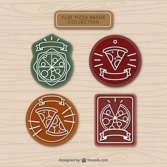 Emblemas coleção de desenhado mão da pizza