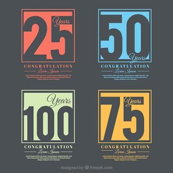 Emblemas coloridos aniversário em estilo retrô
