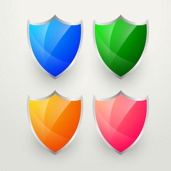 Emblemas coloridos brilhantes definir