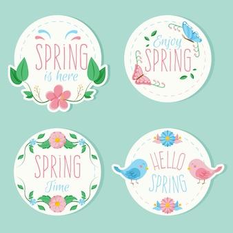 Emblemas coloridos com pacote temático de primavera