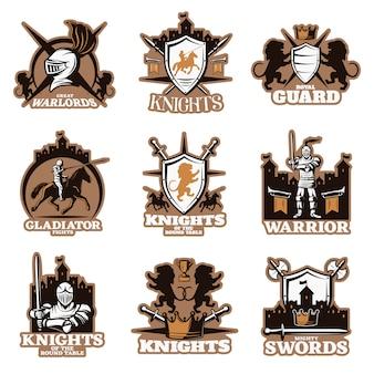Emblemas coloridos de cavaleiros
