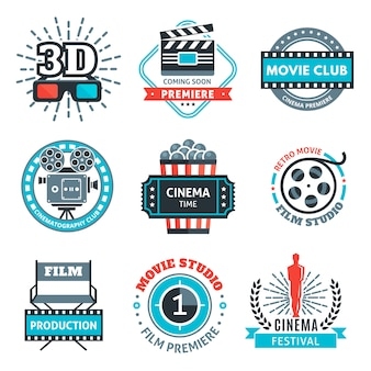Emblemas coloridos de cinema