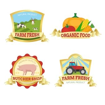 Emblemas coloridos de comida de fazenda
