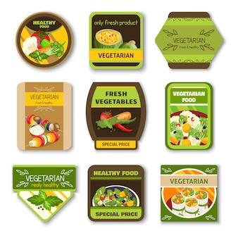 Emblemas coloridos de comida vegetariana