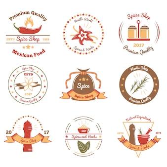 Emblemas coloridos de especiarias e ervas