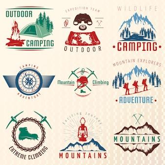 Emblemas coloridos de expedições de montanha