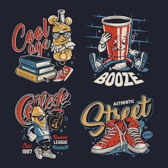 Emblemas coloridos de faculdade vintage