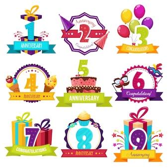 Emblemas coloridos de festa de aniversário