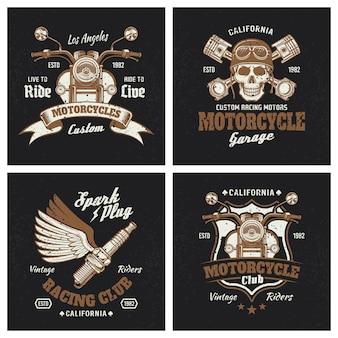 Emblemas coloridos de motocicleta no escuro
