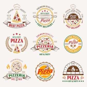 Emblemas coloridos de pizaria