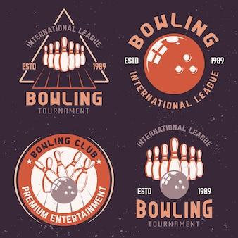 Emblemas coloridos de torneio de boliche