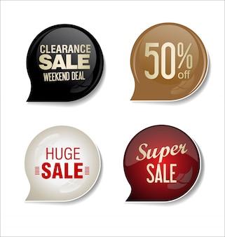 Emblemas coloridos de venda design ilustração