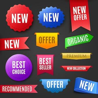 Emblemas coloridos, etiquetas e tags para qualquer projeto de design.