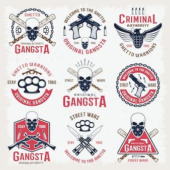 Emblemas coloridos gangster