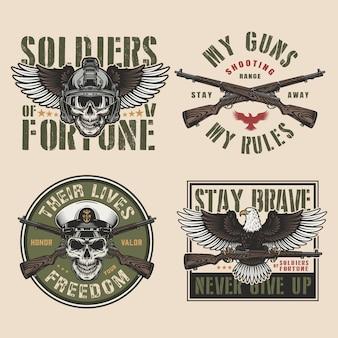 Emblemas coloridos militares vintage