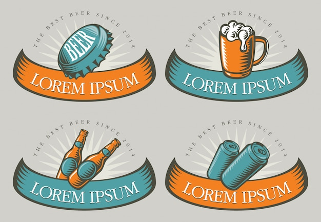 Emblemas com ilustrações de cerveja