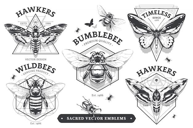 Emblemas com insetos