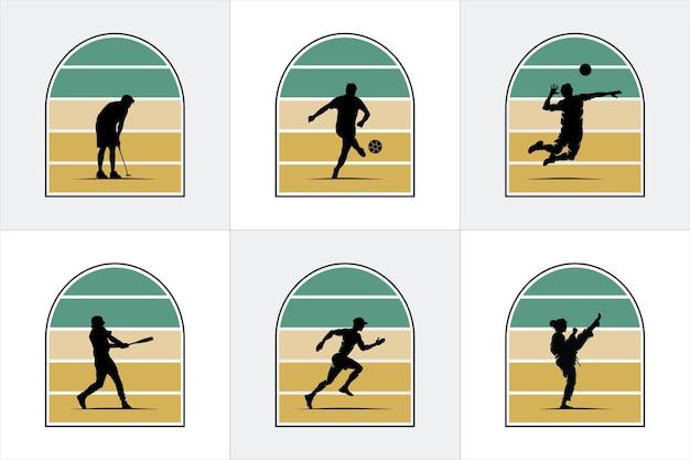 Emblemas com silhuetas de pessoas e esportes