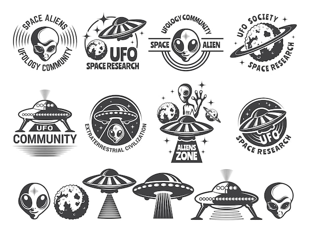 Emblemas com ufo e alienígenas.