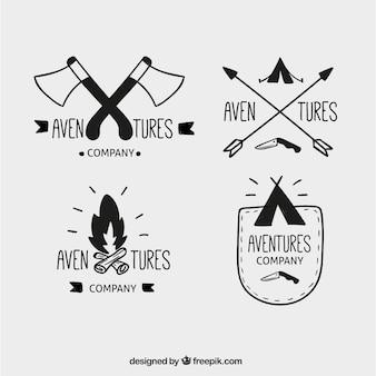 Emblemas conjunto de aventura desenhada à mão
