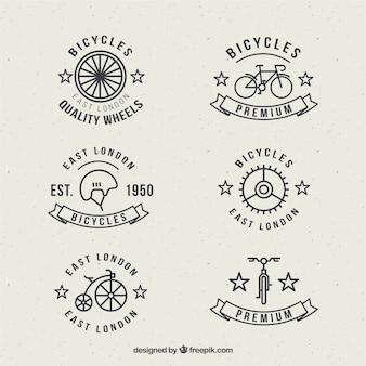 Emblemas da bicicleta no estilo linear