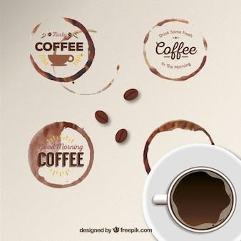 Emblemas da mancha do café