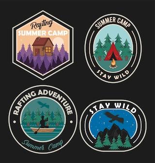 Emblemas de acampamento de verão