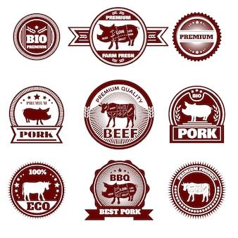 Emblemas de açougue de fazenda de eco
