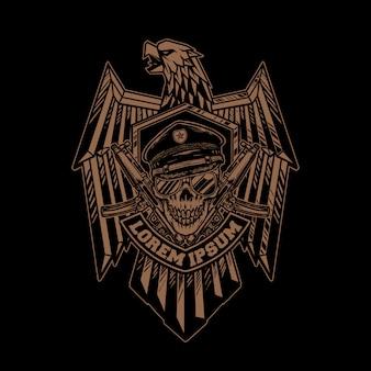 Emblemas de águia com caveira e armas
