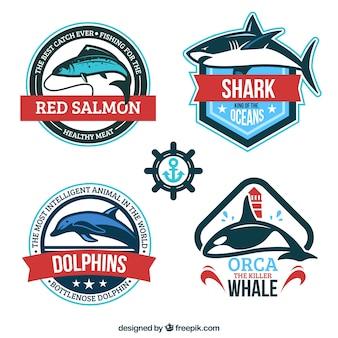 Emblemas de animais marinhos