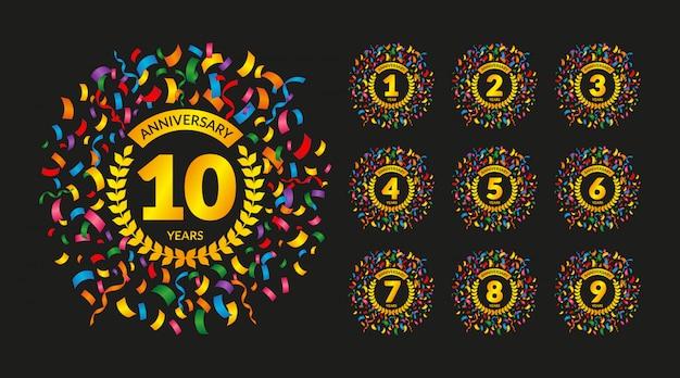 Emblemas de aniversário com confetes coloridos
