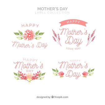 Emblemas de aquarela florais para o dia da mãe