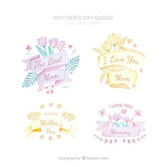 Emblemas de aquarela para o dia das mães