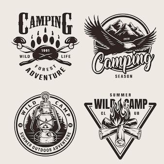 Emblemas de aventura ao ar livre do verão vintage