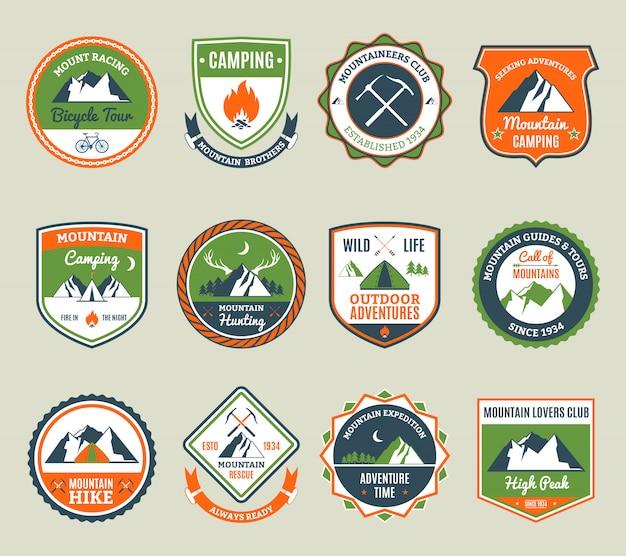 Emblemas de aventura de montanha
