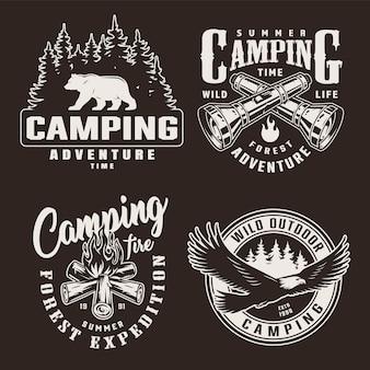 Emblemas de aventura de verão monocromático vintage