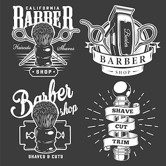 Emblemas de barbearia vintage