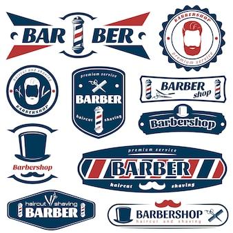 Emblemas de barbeiro azul vermelho