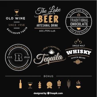 Emblemas de bebidas retro