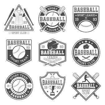 Emblemas de beisebol preto branco