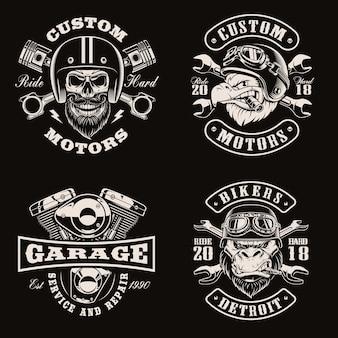 Emblemas de bicicleta vintage em preto e branco