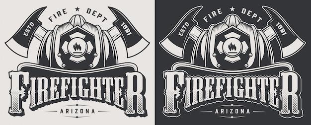 Emblemas de bombeiro vintage com machados cruzados e crânio barbudo usando ilustração de capacete de bombeiro