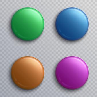 Emblemas de botão em branco colorido, conjunto de ímãs isolados de pino redondo vector. botão e pin redondo, ilustração de cor de distintivo de ímã