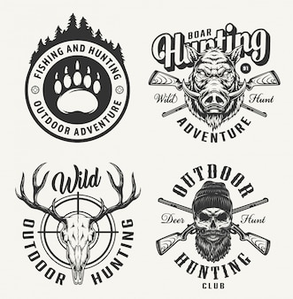 Emblemas de caça monocromático vintage