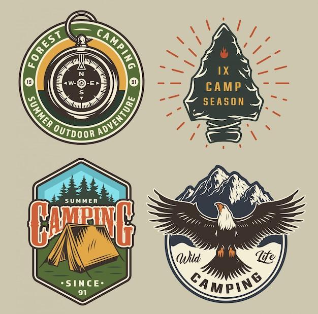 Emblemas de campismo vintage