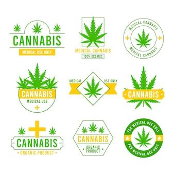 Emblemas de cannabis orgânica medicinal