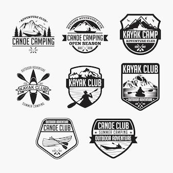 Emblemas de canoagem de caiaque